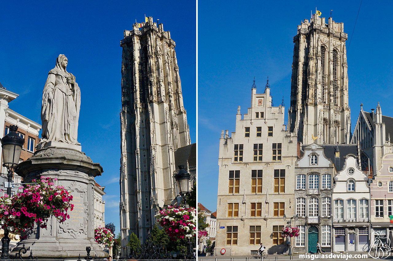 Estatua de Margarita de Austria y la Catedral de San Rumoldo