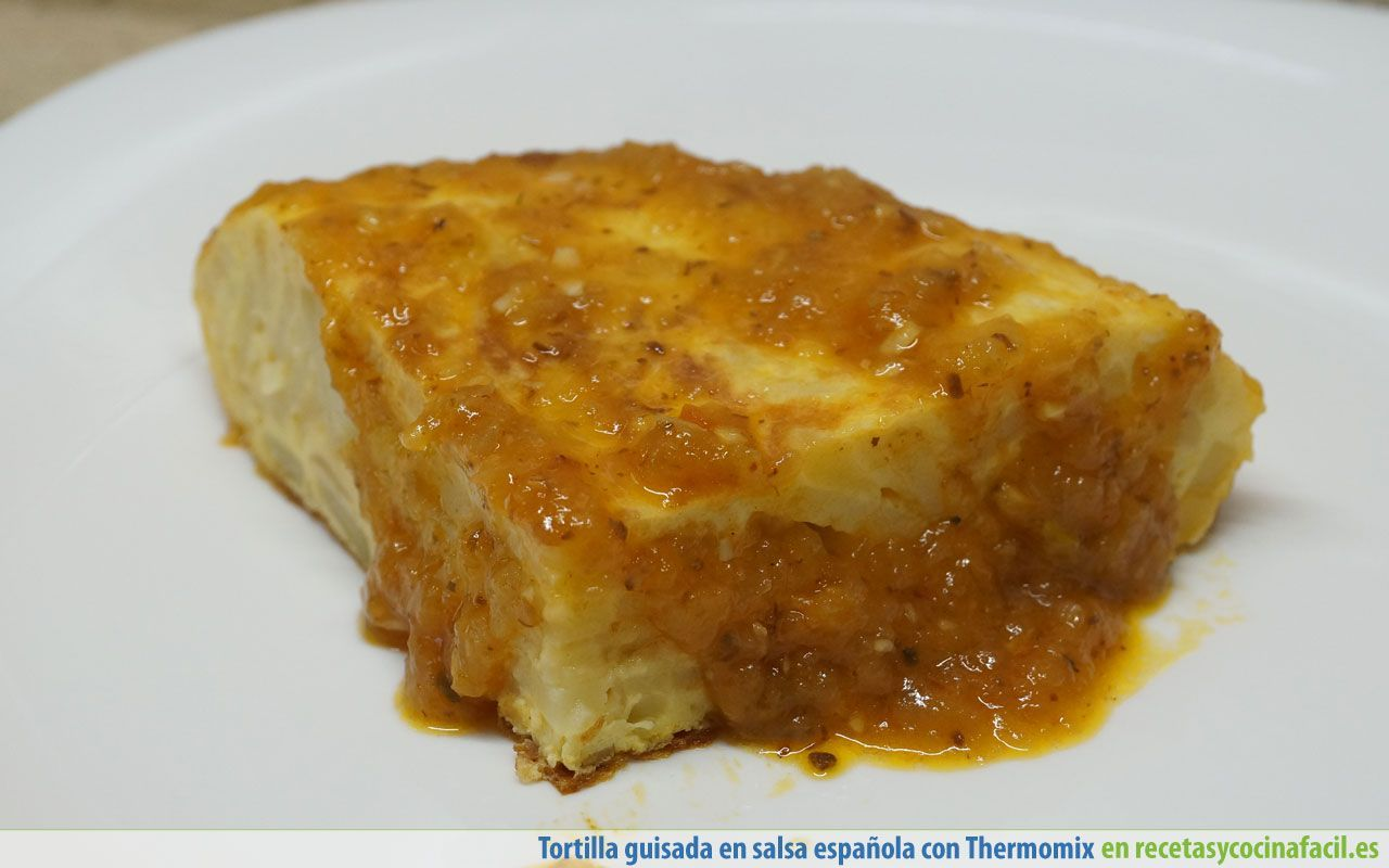 Pincho tortilla de patatas en salsa española con Thermomix