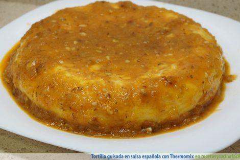 Tortilla de patatas en salsa española con Thermomix