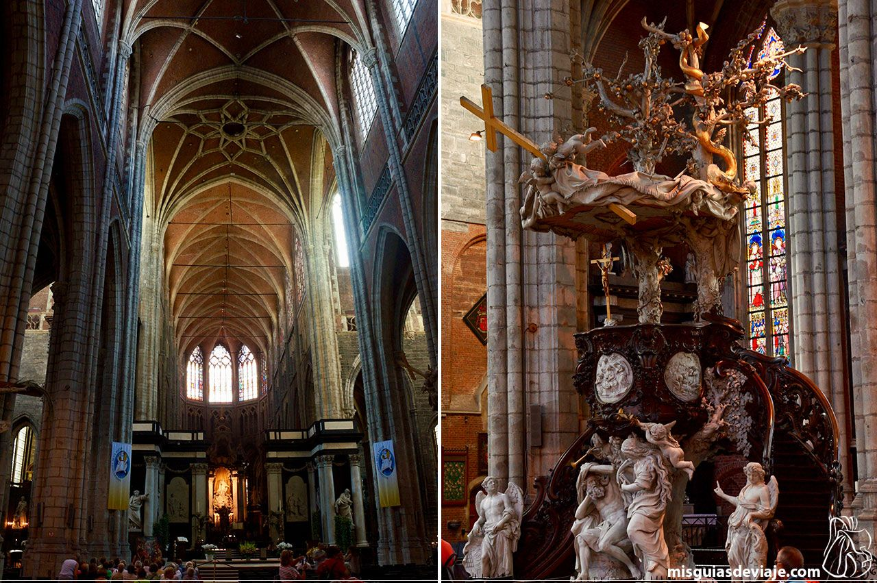 Altar e interior de la catedral de San Bavón en Gante