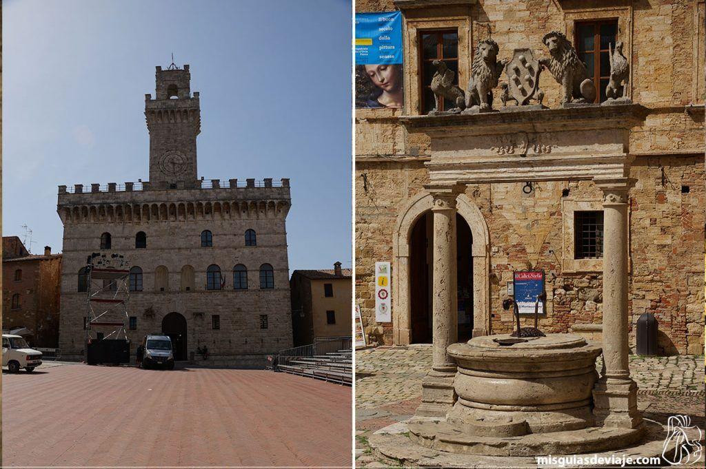 Ayuntamiento y pozo de la plaza en Montepulciano