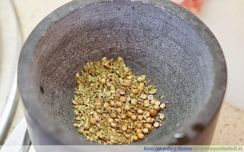 Especias para arroz con pollo y cilantro