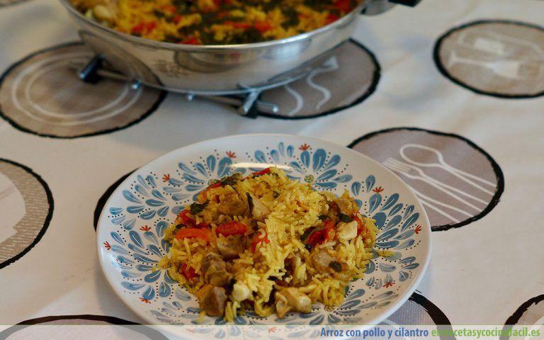 Plato de arroz con pollo y cilantro
