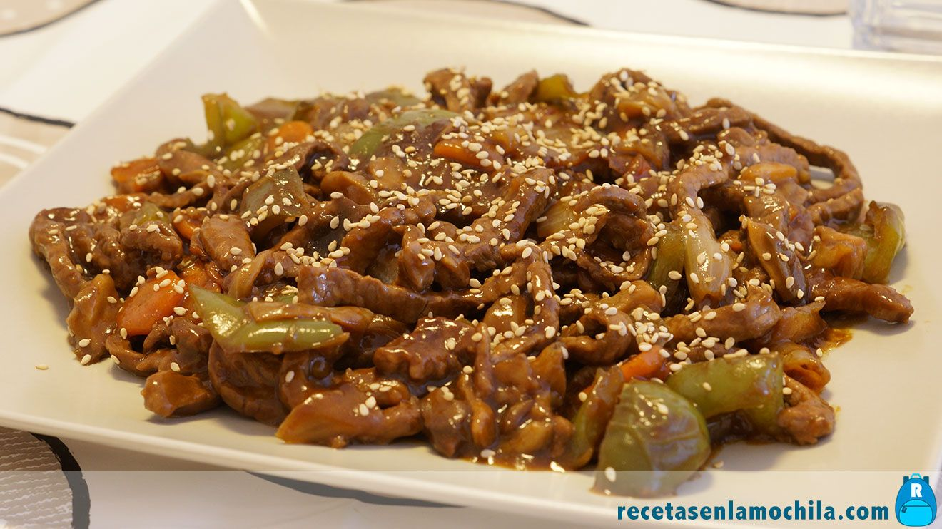 Ternera en salsa de ostras estilo chino