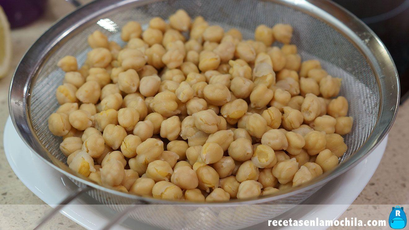 Garbanzos cocidos para hacer hummus