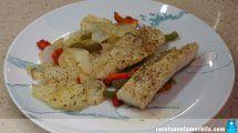 Bacalao al horno con patatas y pimiento