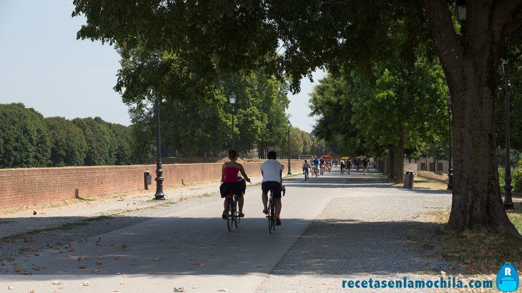 Turistas y locales paseando y haciendo ejercicio por las murallas
