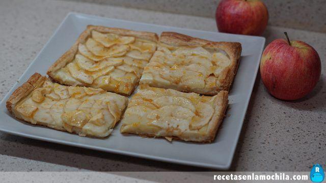 Tarta de manzana de hojaldre y crema pastelera