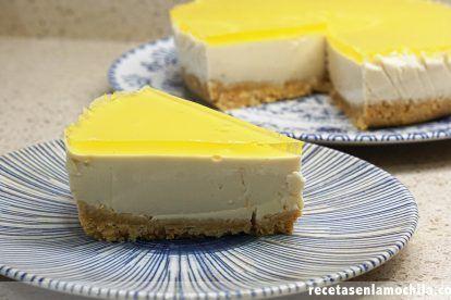 Tarta de yogur sabor limón sin horno