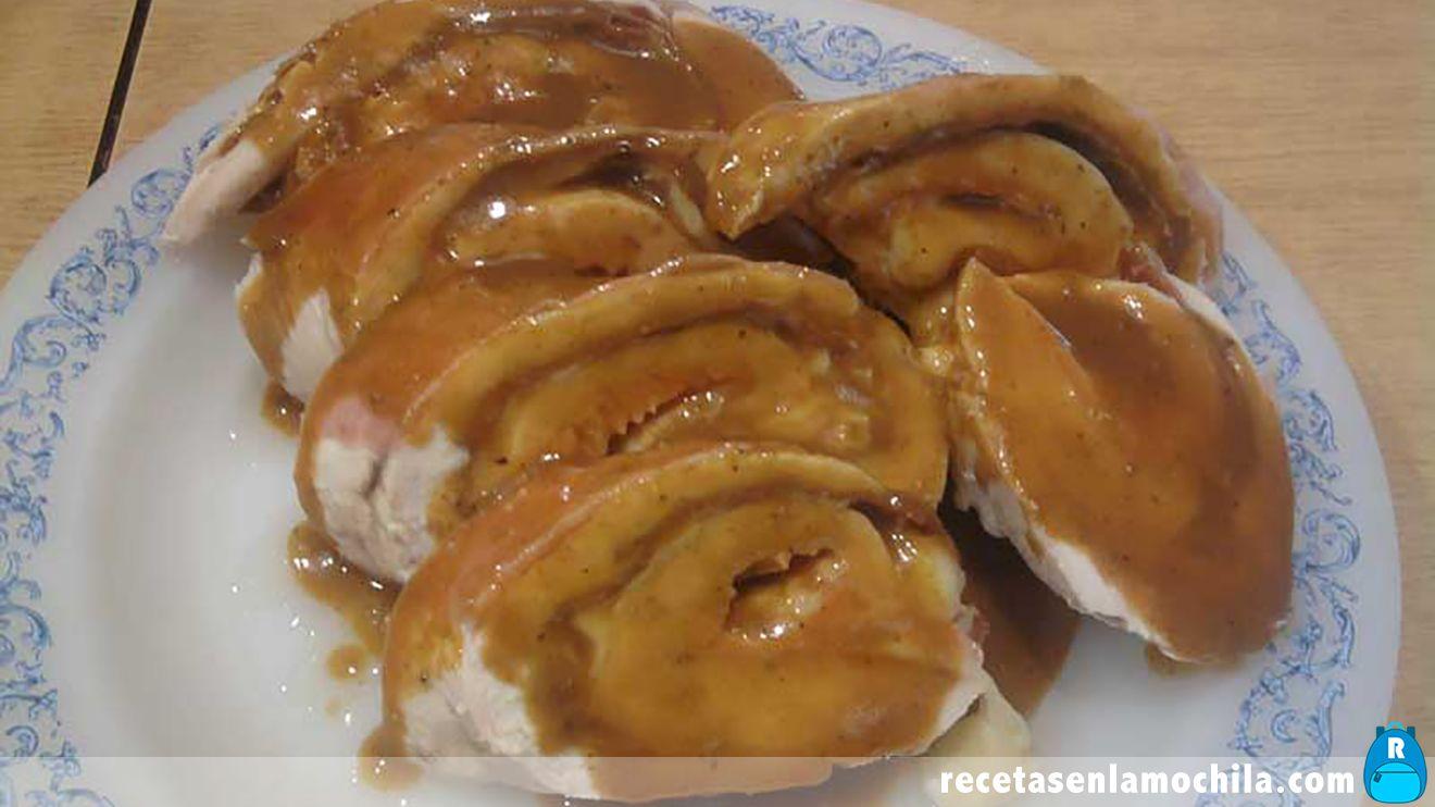 Rollo de pollo con salsa agridulce en Thermomix